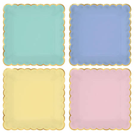 "Amscan Spring Scalloped Square Plastic Plates, 7"", Assorted Colors, 8 Plates Per Pack, Set Of 4 Plates"