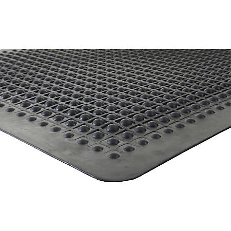 Genuine Joe Flex Step 50% Recycled Anti-Fatigue Mat, 3' x 5', Black
