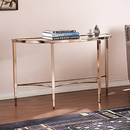 Southern Enterprises Thessaly Console Table, Crescent, Metallic Gold
