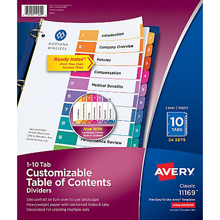 Avery® Ready Index® 20% Recycled Table Of Contents Dividers, Uncollated, Multicolor, 10-Tab, 24 Sets