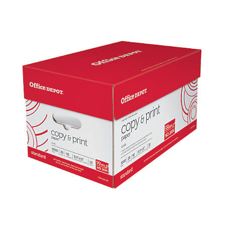 Office Depot® Brand Copy & Print Paper, Letter Size Paper, 20 Lb, 500 Sheets Per Ream, Case Of 10 Reams