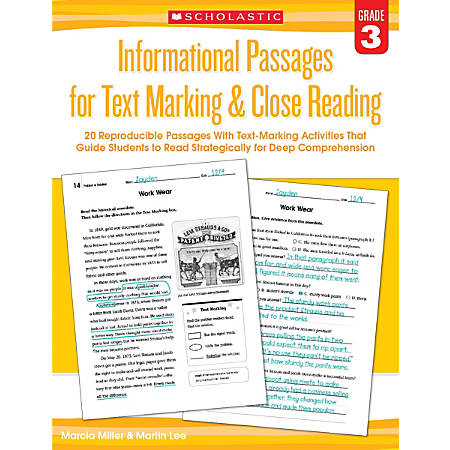 Scholastic Teacher Resources Informational Passages For Text Marking & Close Reading, Grade 3
