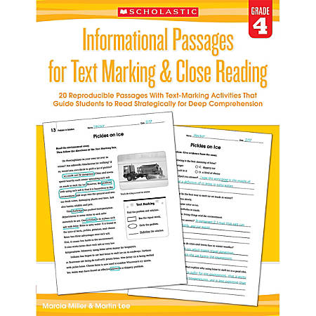 Scholastic Teacher Resources Informational Passages For Text Marking & Close Reading, Grade 4