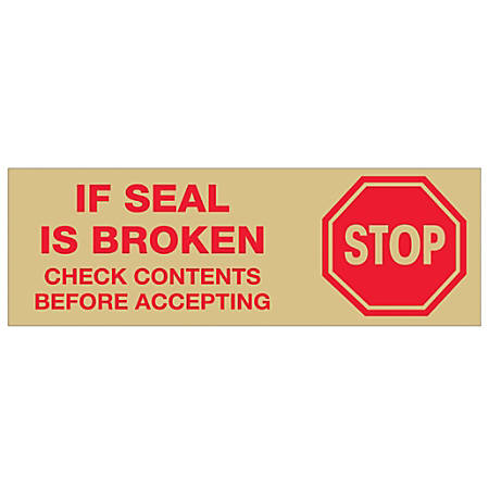 "Tape Logic® Stop If Seal Is Broken Preprinted Carton-Sealing Tape, 3"" Core, 2"" x 55 Yd., Red/Tan, Case Of 18"