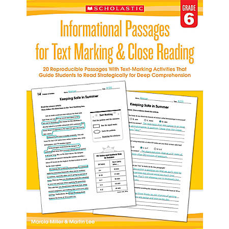 Scholastic Teacher Resources Informational Passages For Text Marking & Close Reading, Grade 6