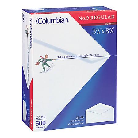 "Columbian® Business Envelopes, #9, 3 7/8"" x 8 7/8"", White, Box Of 500"