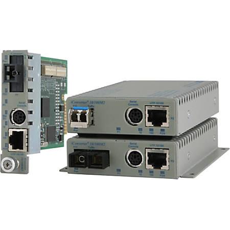 Omnitron Systems iConverter Transceiver/Media Converter - 1 x Network (RJ-45) - 1 x ST Ports - 10/100Base-TX, 100Base-FX - Desktop, Wall Mountable, Rail-mountable