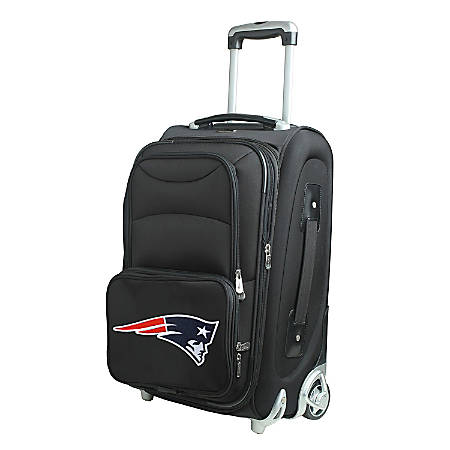 "Denco Nylon Expandable Upright Rolling Carry-On Luggage, 21""H x 13""W x 9""D, New England Patriots, Black"