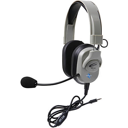 Califone Washable Titanium Series Headset With To Go Plug - Stereo - Mini-phone - Wired - 50 Ohm - 20 Hz - 20 kHz - Over-the-head - Binaural - Circumaural - Electret, Uni-directional Microphone - Noise Canceling