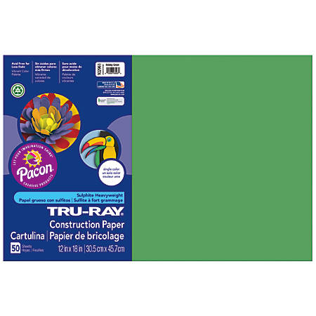 "Tru-Ray® Construction Paper, 50% Recycled, 12"" x 18"", Holiday Green, Pack Of 50"