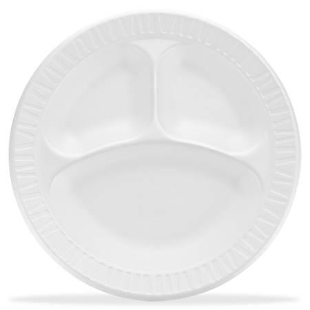 "Dart Unlaminated Foam Compartment Plates, 10"", White, Pack Of 500"