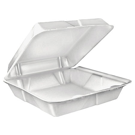 """Dart Large Carryout Foam Trays, 1 Compartment, 9"""" x 9"""", White, Pack Of 100"""