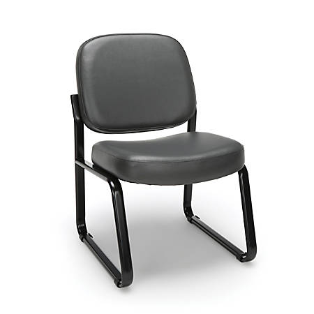 OFM Anti-Microbial Anti-Bacterial Reception Chair, Charcoal/Black