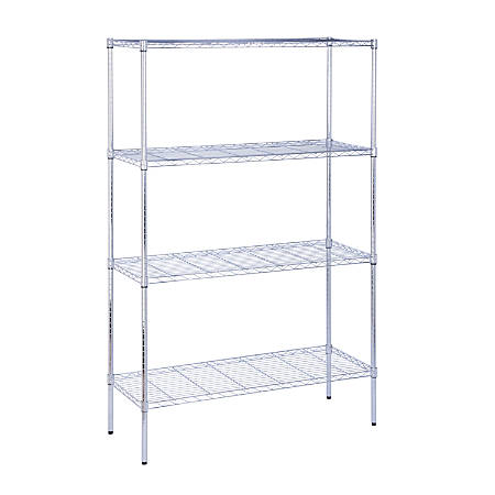 "Honey-Can-Do Urban Steel Adjustable Storage Shelving Unit, 4-Tiers, 72""H x 18""W x 48""D, Chrome"