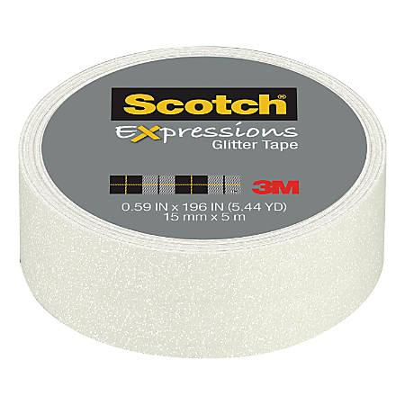 "Scotch® Expressions Glitter Tape, 0.59"" x 196"", White"