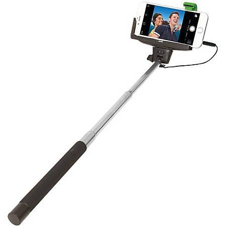 ReTrak™ Wired Selfie Stick, Black/Chrome