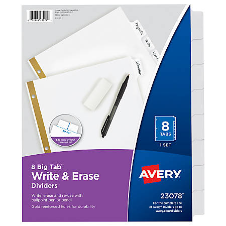 Avery® Big Tab™ Write-On Tab Dividers With Erasable Laminated Tabs, 8-Tab, White