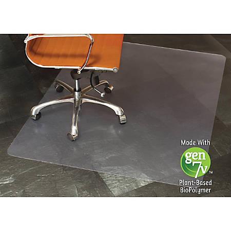 "E.S.ROBBINS Nat. Origins Hard Flr Rectnglr Chairmat - Floor, Hard Floor, Desk Protection, Workstation, Tile Floor, Office, Wood Floor, Home - 60"" Length x 46"" Width - Rectangle - Textured - Vinyl - Clear"