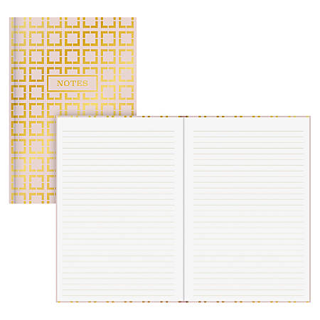 """Blue Sky Gold Geo Bookbound Notebook, 5"""" x 8"""", 80 Sheets, Gold/White"""