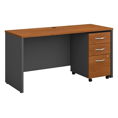 Bush Business Furniture Components Office Desk With Mobile File Cabinet 60 W X 24 D Natural Cherry Graphite Gray Standard Delivery Item 349207