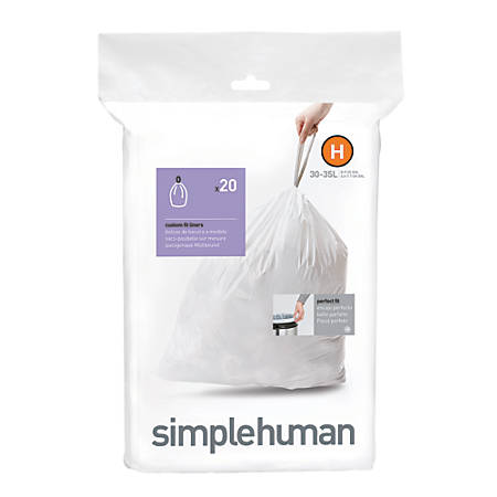 simplehuman® Custom Fit Can Liners, H, 30-35L/8-9G, White, Pack Of 240