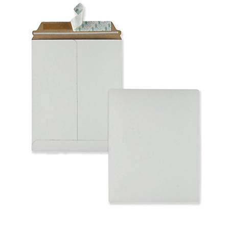 "Quality Park Sturdy Fiberboard Photo Mailers - Board - 9 3/4"" Width x 12 1/2"" Length - Self-sealing - Fiberboard - 25 / Box - White"