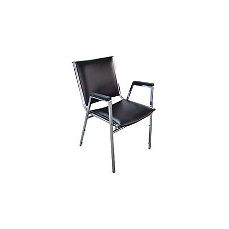 Lorell® Padded Stacking Chair, Black, Set Of 4