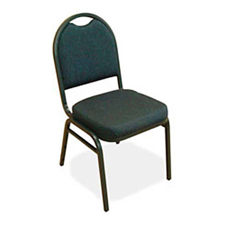 Lorell® Banquet Stack Chair, Textured Fabric, Blue/Black, Set Of 4