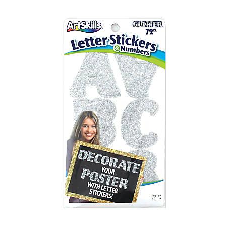 "Artskills® Glitter Letter Stickers, 2 1/4"", Custom, Silver, Pack Of 72"