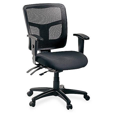 Lorell® Ergonomic Mesh/Fabric Mid-Back Chair, Black