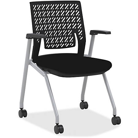 Mayline® Thesis Flex Back Stackable Chairs, Black/Gray, Set Of 2