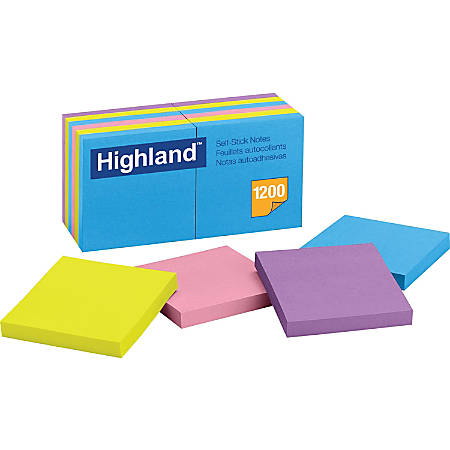 "Highland™ Self-Stick Notes, 3"" x 3"", Assorted Bright Colors, 100 Sheets Per Pad, Pack Of 12 Pads"