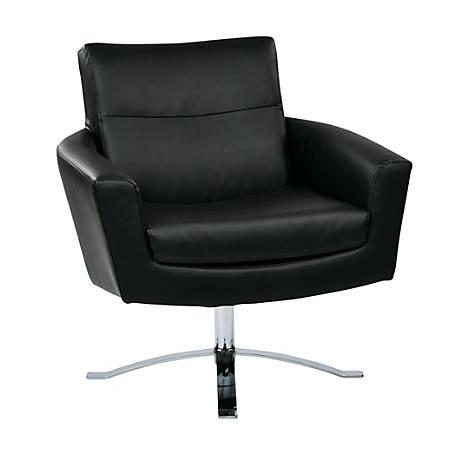 Ave Six Nova Faux Leather Arm Chair, Black/Chrome