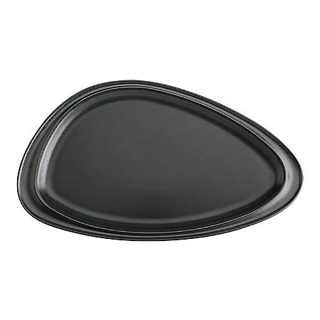 "Foundry Geo Ceramic Platters, 14 3/16"" x 8 1/4"", Matte Black, Pack Of 6 Platters"
