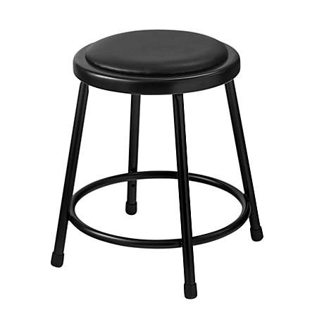 "National Public Seating 6400 Vinyl Stool, 18"", Black"