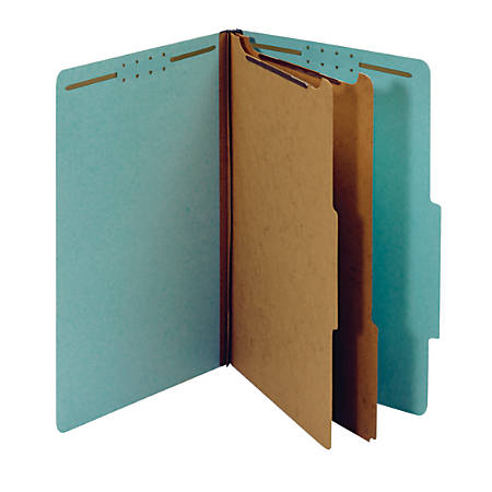 "Pendaflex® Standard Classification Folders With Fasteners, 8 1/2"" x 14"", Legal Size, 60% Recycled, Blue, Box Of 10"