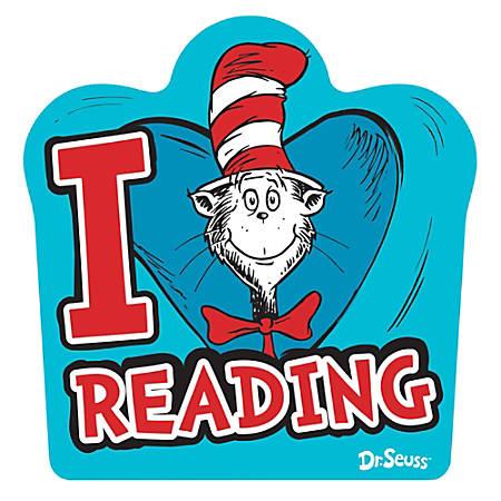"Amscan Dr. Seuss Medium Reading Cutouts, 10-1/2"" x 11"", Blue, Pack Of 14 Cutouts"