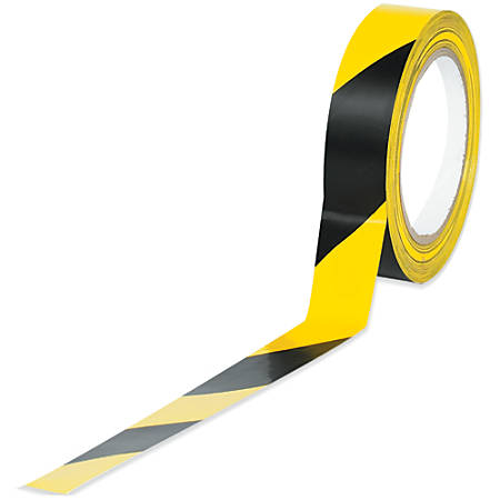 "BOX Packaging Striped Vinyl Tape, 3"" Core, 1"" x 36 Yd., Black/Yellow, Case Of 48"