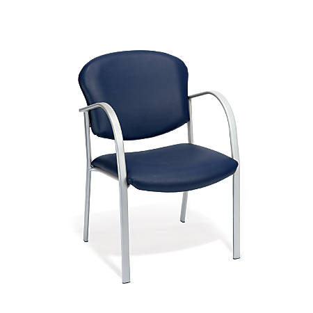 OFM Danbelle Series Anti-Bacterial Contract Reception Chair, Navy/Silver