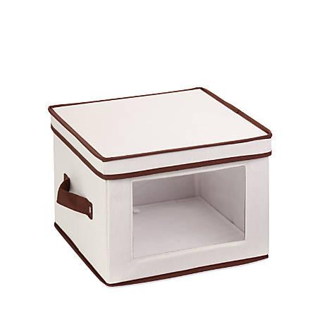 "Honey-Can-Do Canvas Dinnerware Storage Box, Medium, 8 1/2""H x 12""W x 12""D, Brown/Natural"
