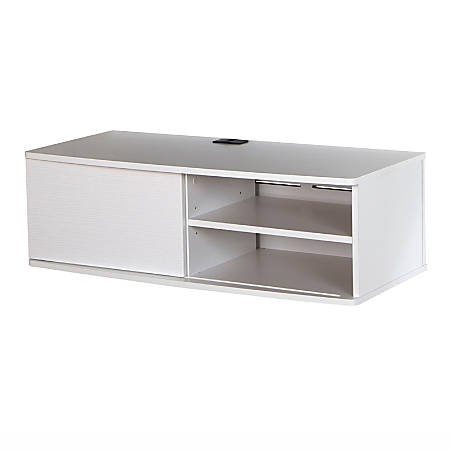 """South Shore Agora 38"""" Wide Wall Mounted Media Console, Pure White"""