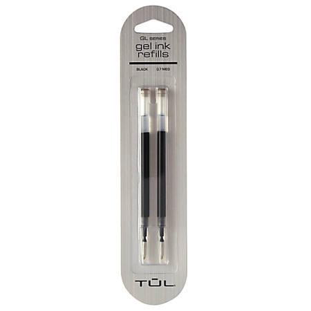TUL® Gel Pen Refills, Medium Point, 0.7 mm, Black Ink, Pack Of 2 Refills