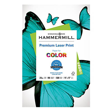 """Hammermill® Laser Paper, 11"""" x 17"""", 24 Lb, Pack Of 500 Sheets"""