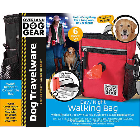 "Overland Dog Gear Day/Night 6-Piece Walking Bag, 7""H x 2""W x 6""D, Black"