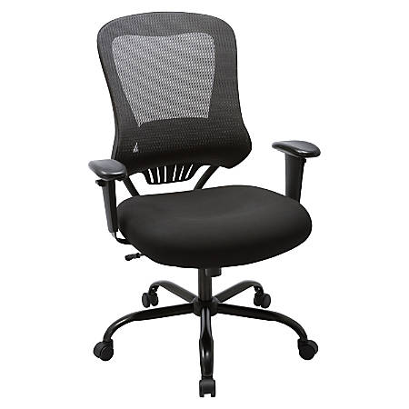 Lorell® Big and Tall Executive Mesh/Bonded Leather Chair, Black
