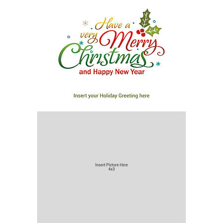 Flat Photo Greeting Card, Merry Christmas, Vertical