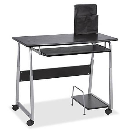 Lorell® Mobile Computer Desk, Black/Silver