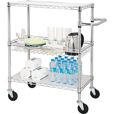 "Lorell® 3-Tier Steel Rolling Carts, 18""W x 30""D x 40""H, Chrome"