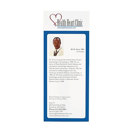 "Custom Full-Color Rack Cards, 8 1/2"" x 3 1/2"", White, Pack Of 50"