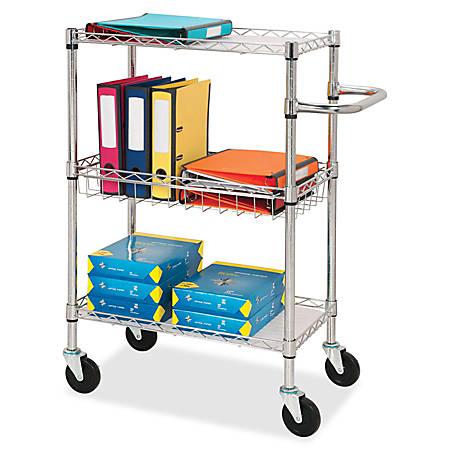 "Lorell® 3-Tier Steel Rolling Cart, 16""W x 26""D x 40""H, Chrome"